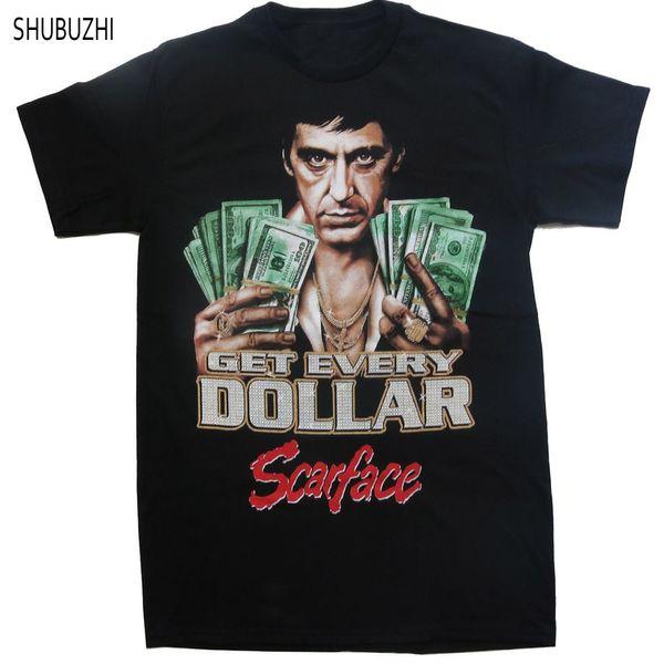 Camiseta de algodão marca verão homens camiseta Scarface Al Pacino obter cada dólar impresso solto engraçado t-shirt tops sbz493