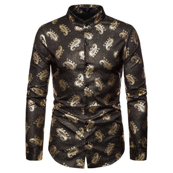 Paisley Print Mens Designer Shirt Luxury Gold Mens Casual Clothes Fashion Styles Homme Long Sleeve Tops