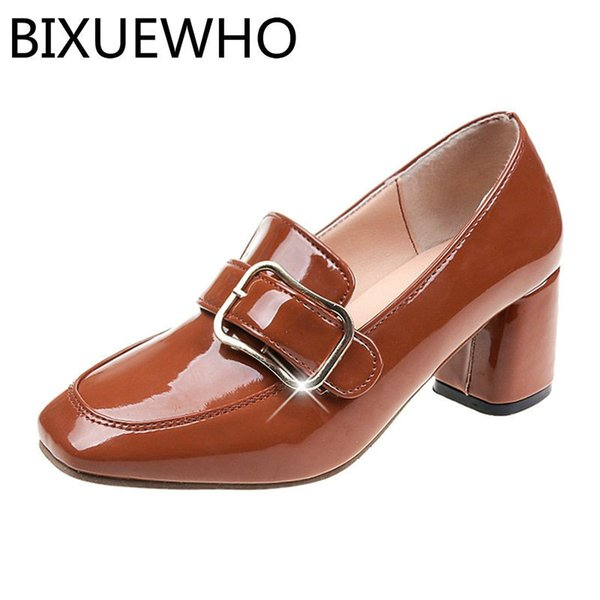 Dress Shoes Size 34-40 2019 New Elegant Spring/autumn Lady Pumps Women Square Toes Square High Heels Woman Metal Decorate Casual
