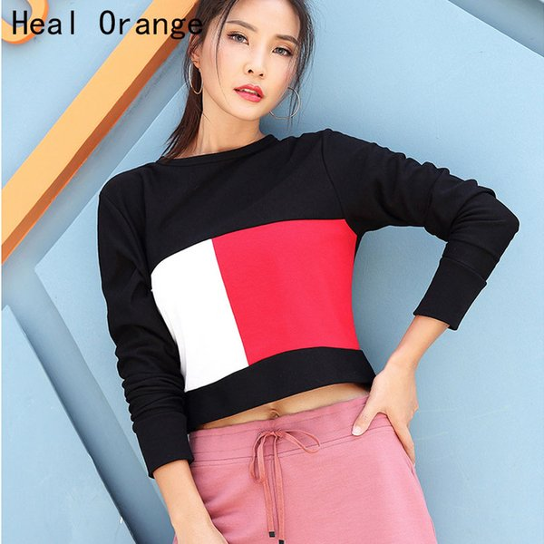 how to purchase favorable price limited sale 2019 Heal Orange Womens Gym Tops Fitness Tops Top Sport T Shirt Women Long  Sleeve Fitness Shirt Women Workout Top Splicing Sweatshirt From Cumax, ...