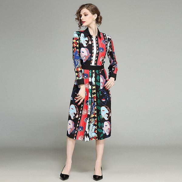 Kadın Elbise 2020 İlkbahar Kadın Yeni Moda Yaka Uzun Kollu Bel Orta uzunlukta Uzun Elbise Salıncak yazdır
