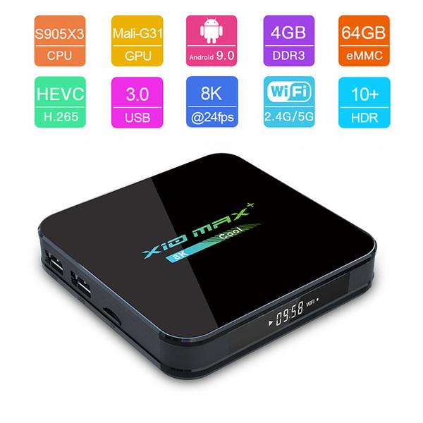 top popular Newest X10 MAX PLUS 8K TV Box Android 9.0 Quad Core Amlogic S905X3 TV Box 4GB 32GB 64GB Dual WiFi Bluetooth 2020