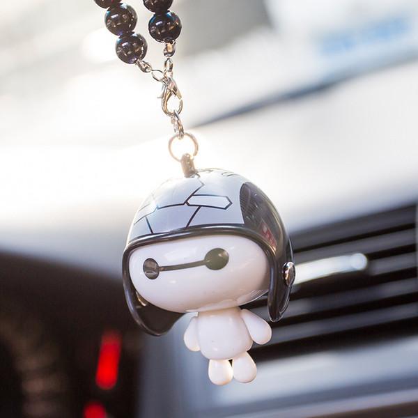 ornements poupée robot casque pendentif voiture acrylique pendentifs rétroviseur auto accrocher des accessoires cadeaux de jouets décoratifs