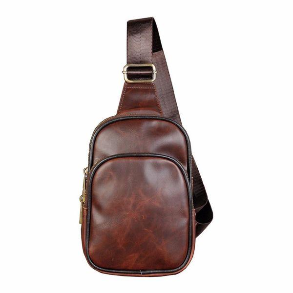 Vintage Leather Sling Bag for Men Back Pack Cross Body Messenger Casual Shoulder Chest Day Pack Small Back Packs