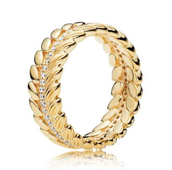 925 originaux Bague en argent sterling Grains d'or d'énergie avec bague en cristal pour Pandora femmes de soirée de mariage cadeau Bijoux Fashion