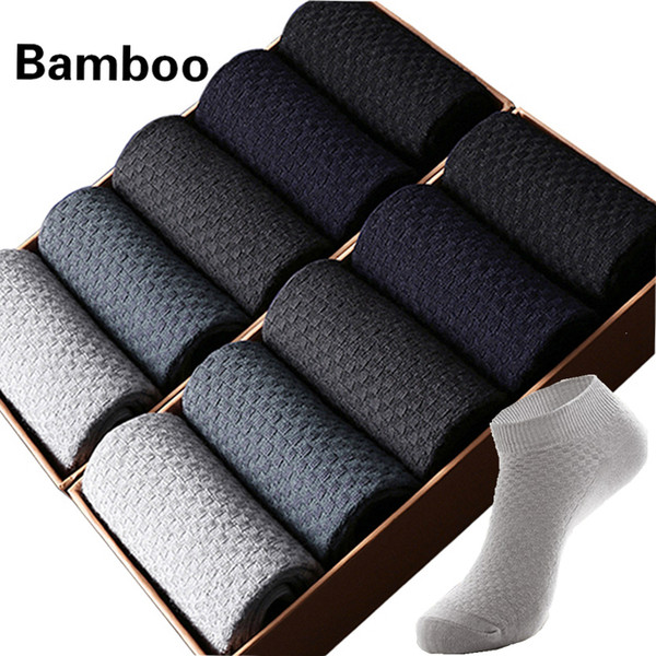 10 Pairs/lot Men's Bamboo Short Socks Invisible Ankle Black Male Socks And Shoes Go Well With Clothes Dress Gift 2019 Size38-43 SH190719
