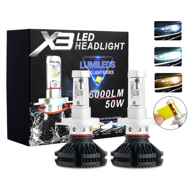 top popular 2pcs X3 led headlight 50W 6000LM H4 H7 LED Car Headlight 3000K 6500K 8000K ZES Chip H1 H11 9005 HB3 9006 HB4 h8 LED headlamp 2019