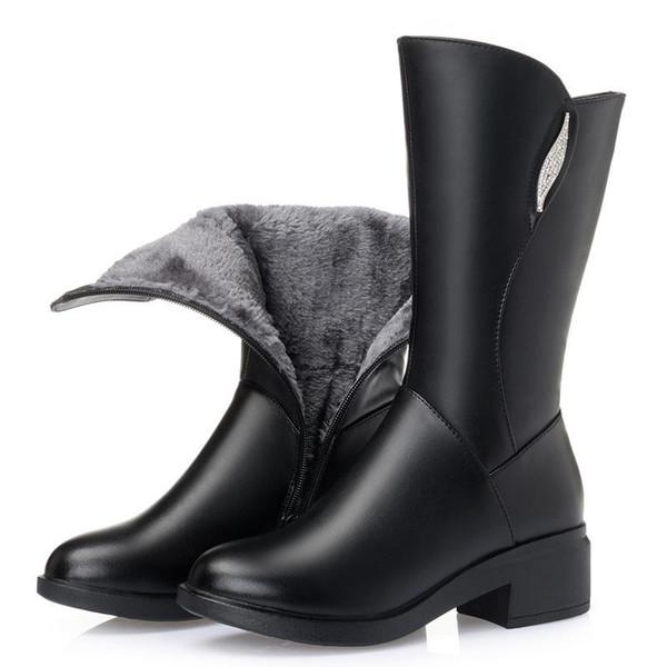 ZXRYXGS Zapatos de marca Mujer Plus Terciopelo y lana Botas de invierno Botas de nieve 2018 Nuevo Rhinestone Cuero de vaca Mujer En tubo