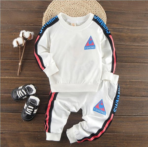 Baby spring new children's two-piece boy sports suit long-sleeved trousers white black 5 size fashion design