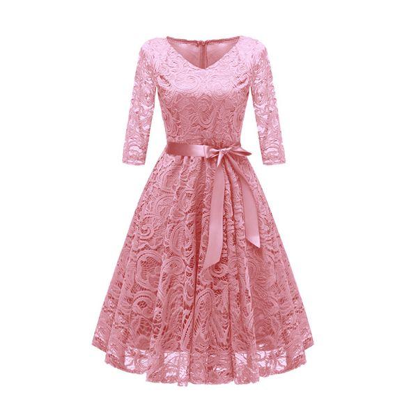 Autumn Lace Dresses Femme 3/4 Sleeve V-Neck Women Red Dress Hollow Out Female Robes Plus Size 2XL Vestidos de Festa