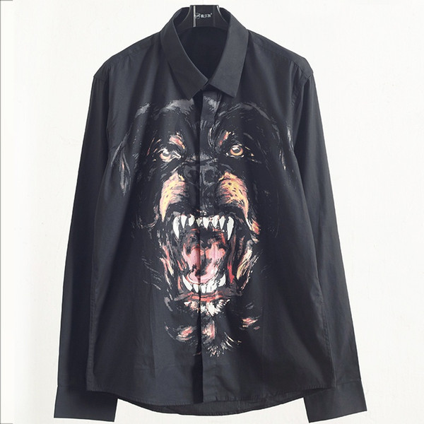 top popular New Mens Stylist Black Shirt Mens Fashion Dog Head Printed Slim Fit Long Sleeve Mens Shirts Casual Cotton Shirt 2020