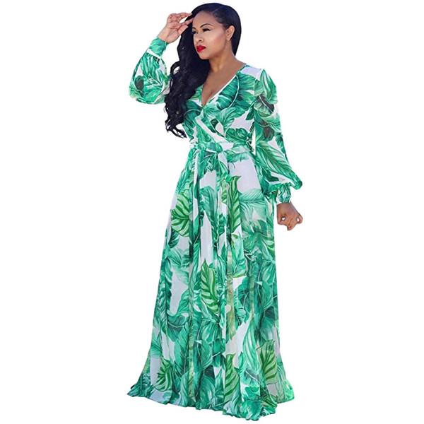 Festa de Verão Vestido Longo Mulheres Elegent Folha Imprimir manga comprida vestido maxi Vintage Partido Vestidos Mulheres Roupa 2019 robe femme