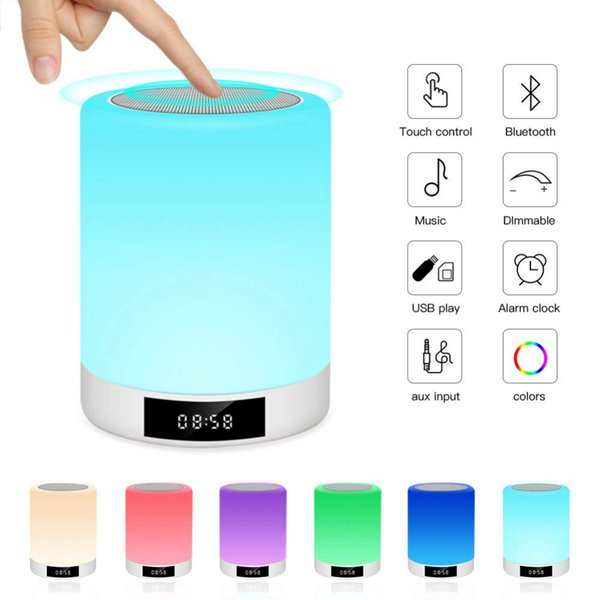 Wrdlosy MINI LED Alarm Clock with Wireless Bluetooth Speaker MP3 Player Support TF AUX Touch Sensor LED Lamp Dimmable Warm Light