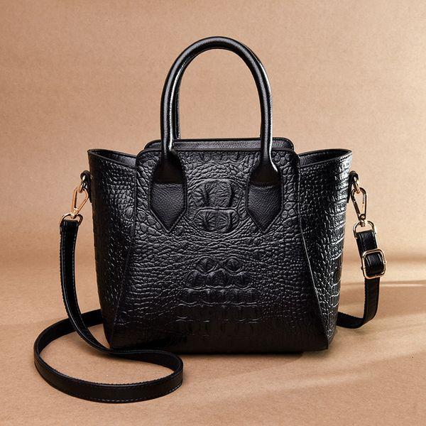 2019 Vintage Crocodile Genuine Leather  Ladies Handbags Women Bags Designer Woman Shoulder Bag Female Bolsas Fashion Tote