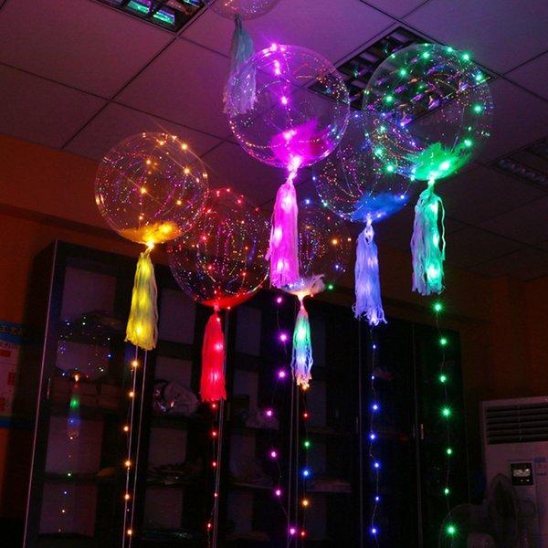Светодиодные шары Night Light Up игрушки ясно воздушный шар 3M гирлянд Flasher прозрачная волна шары Освещение Гелий шары партии Decoration--