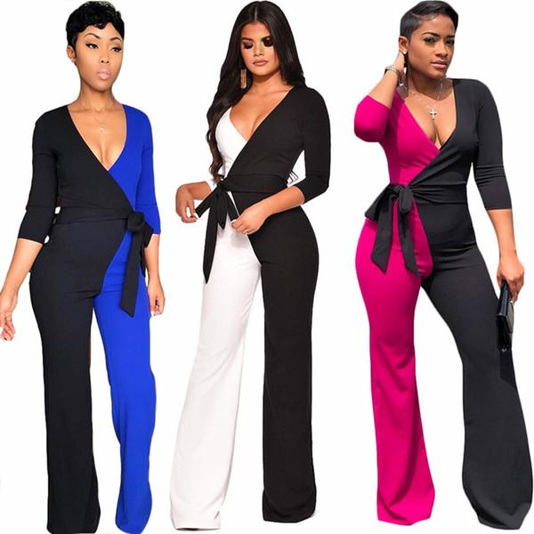 ccb3b33f4c42 Women brand designer Jumpsuits sashes belt Panelled Romper long sleeve  Overalls Bodysuit deep v-neck sexy night club wide leg clothes