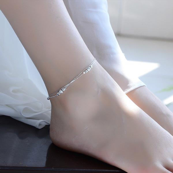 TJP Trendy 925 Silber Frauen Armbänder Schmuck Neueste Bälle Hohl Doppelschichten Mädchen Silber Fußkettchen Für Dame Weibliche Partei Bijou