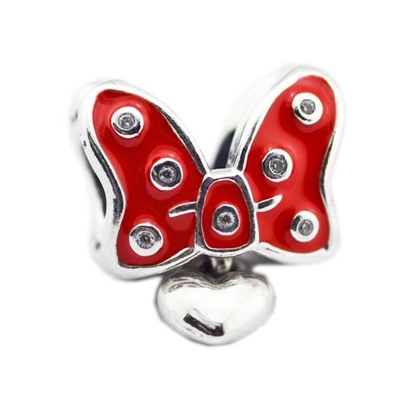 Gioielli New Real Argento 925 rosso dello smalto Bowknot regalo delle donne Con ciondola cuore pavimenta cristallo di fascino misura branelli Pandora bracciale fai da te