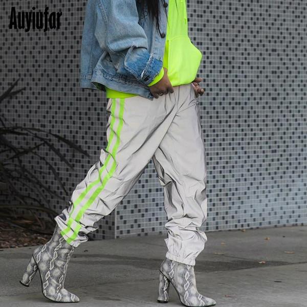 Auyiufar Baggy Reflective Neon Strip Cargo Pants in a cage Women Elastic High Waist Wide Trousers Pantalones Pants Ladies