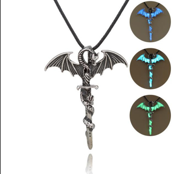 Vintage Silver Luxury Glow In The Dark Choker Necklaces Glowing Pterosaur Thrones Wing Sword pendant For Unisex Men women Ladies luminous
