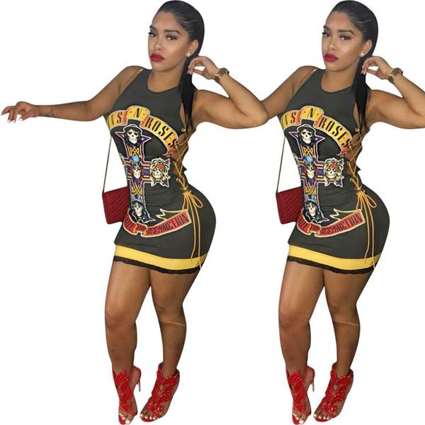 Punk Skull Print T Shirt Vestido de Las Mujeres Vestido Vendaje Vendaje ahueca hacia fuera las niñas T-shirt Vestido Corto Bodycon Vestidos de fiesta 2019