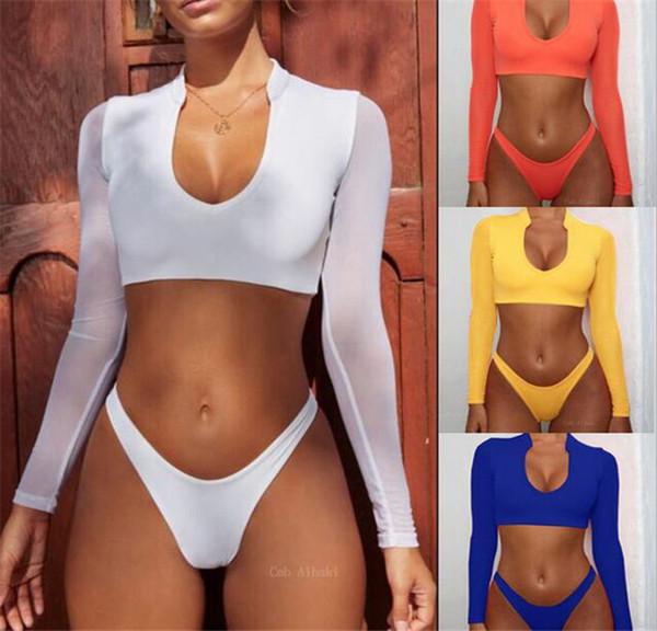 1f41a3b34727 Compre 50 Unids Mujeres De Cintura Alta Mangas Largas Bikinis Conjunto  Corte Alto Trajes De Baño Sexy Protector Solar Ropa De Playa Bikini Traje  De ...