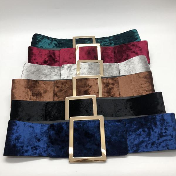 Женщины Осень Красочного Velvet Широких талии платье пояс Мода Прямоугольной Pin-Buckle Waistband свитер Woolem пальто Cummerbunds Женская