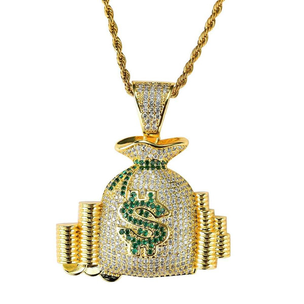 hip hop money bag diamonds pendant necklaces for men women purse wallet coins luxury necklace jewelry gold plated copper zircons Cuban chain