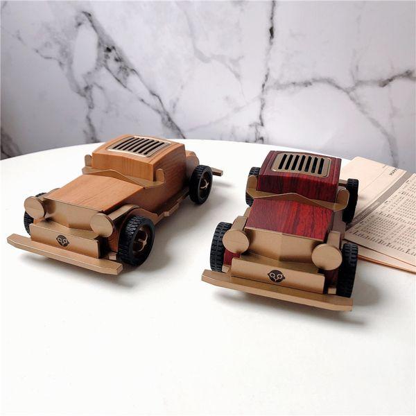European-style Retro Classic Car Wood Bluetooth Speaker Radio veteran car Wireless Music Audio Player Desktop decoration