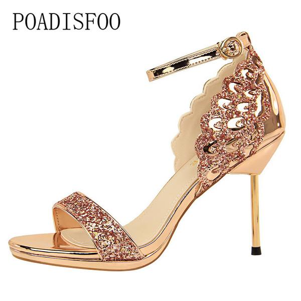 Дизайнерские туфли POADISFOO модные сексуальные ночные клубы на высоких каблуках с водонепроницаемыми блестками на высоком каблуке слово с сандалиями .DS-923-11