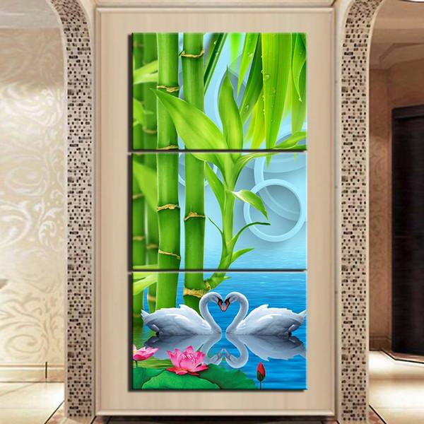 3 Pannello Tela Pittura Immagine Bamboo Swan poster decorazione del salone della pittura di parete Wall Art Prints
