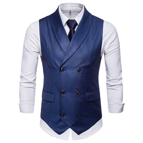 New Sleeveless Jacket Waistcoat Men Suit Vest Fashion Male British Style Cotton Blends Double Breasted Vintage Vests