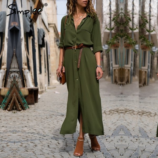 Simplee Casual Button Long Summer Dress Shirt 2018 Office Lady Vintage Maxi Women Dress Plus Size V Neck Chiffon Dress Festa T190410