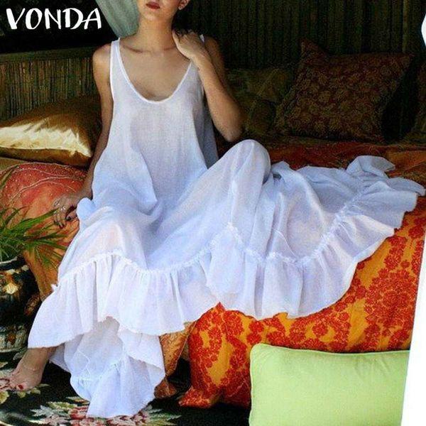 VONDA Марка 2019 женщины платье партии Sexy V шеи без рукавов спинки Макси длинные платья случайные свободные большие качели Vestidos плюс размер