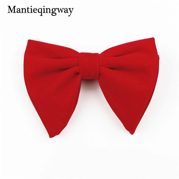 Mantieqingway Novos Designers De Veludo Bow Ties Para Homens Moda Ternos Cor Sólida Boutique Big Bowtie Para Festa de Casamento Gravatas