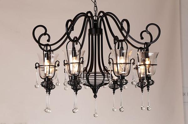 Salón retro del forjado araña de hierro con iluminación de la cocina pantalla de vidrio 3-6 cabezas de las lámparas del metal Bar araña lámpara de Lustre Retro LLFA