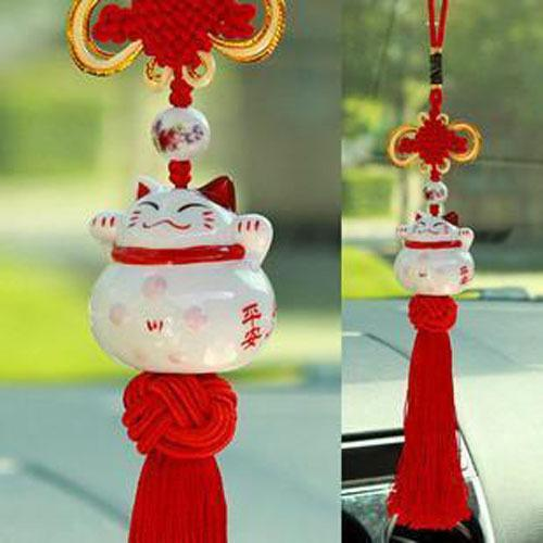 Interior Accessories Ornaments Ceramic Lucky Cat Car Pendant Cute Smiling Face Hanging Ornament Peace Good Fortune Decor