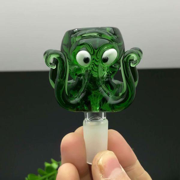 Pulpo verde Cabeza de la burbuja de cristal Bongs de aceite al por mayor Tuberías del quemador de aceite Tuberías de agua Tubería de vidrio Plataformas petroleras Aceite