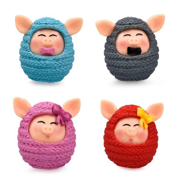 Presentes do presente New 4 pçs / set Bonito Porco De Lã / Cap Dormir Chicks DIY resina Fada Decoração Do Ofício Do Jardim Em Miniatura Micro Gnome Terrário Presente