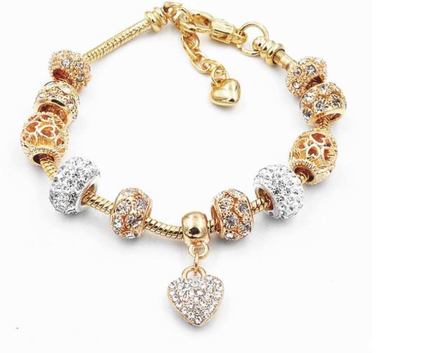 Kristal Boncuklu bileklik Altın Yılan Kemik Zinciri Şeftali Kalp kolye Shell Boncuklu Çift bilezik