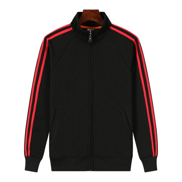 Stand collar Black red stripe