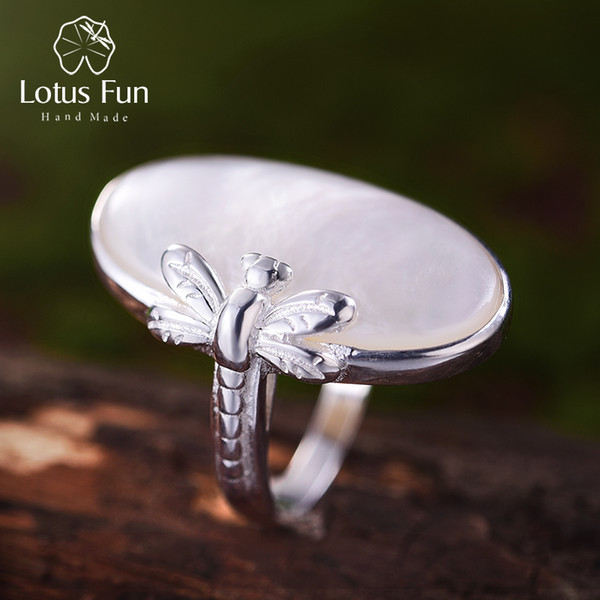 Lotus Fun Real 925 Sterling Silver Natural Shell Creative Handmade Designer Fine Jewelry Vintage Long Rings For Women Bijoux J190615
