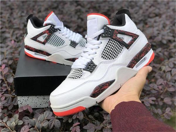 Vente en gros 2019 4 Iv Retro Pale Pour Citron Chaussures de basket-ball Blanc Noir brillant Crimson 308497 -116 sport Hommes Chaussures avec la boîte