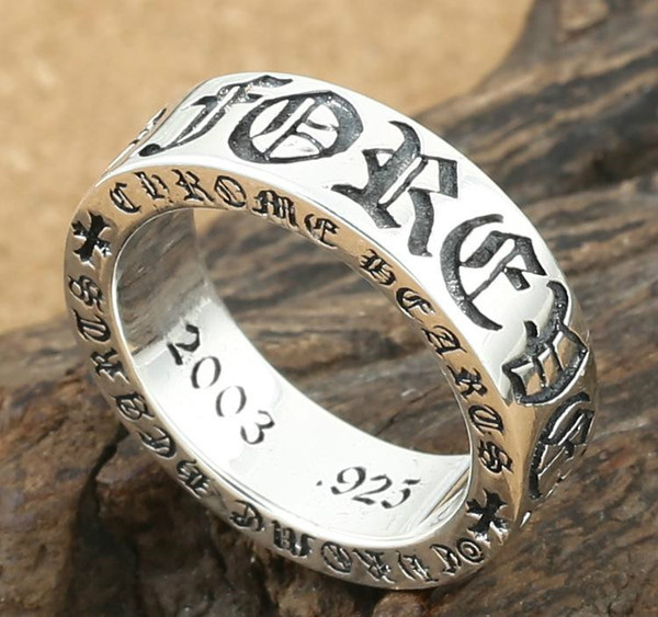 925 sterling silver jewelry vintage style antique silver hand-made designer band rings crosses mens and womens rings K2416