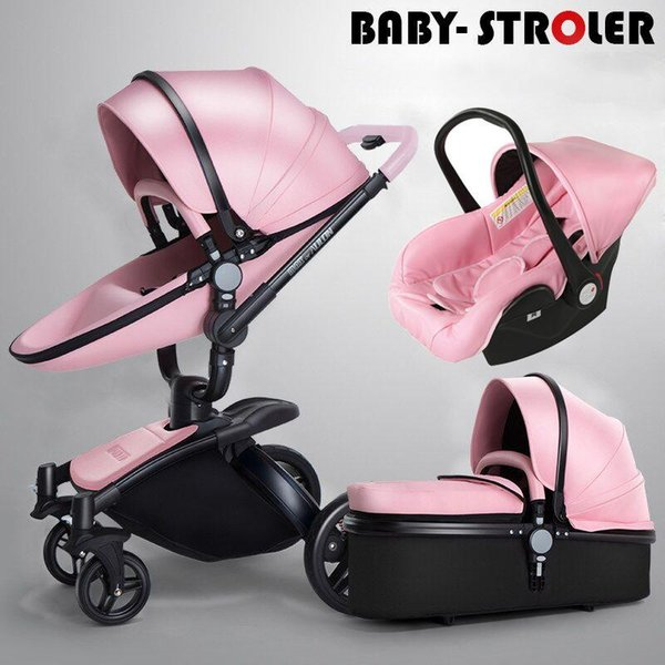 Luxury pu leather 3 in 1 baby troller pram pu hchair leeping ba ket car eat 360° rotation u pen ion bidirectional baby trolley