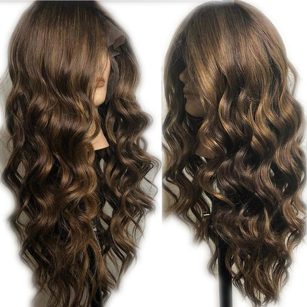 Glueless Pre Plucked With Baby Hair Lace Front Human Hair Wigs Peruvian Virgin Human Hair Ombre Body Wave Highlights Wig Chocolate Color