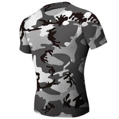 Fashion-Camouflage T-shirt moulant pour hommes Vêtements de sport Compression Army Chemise de combat tactique Camo Compression Fitness Hommes Vêtements de sport en plein air
