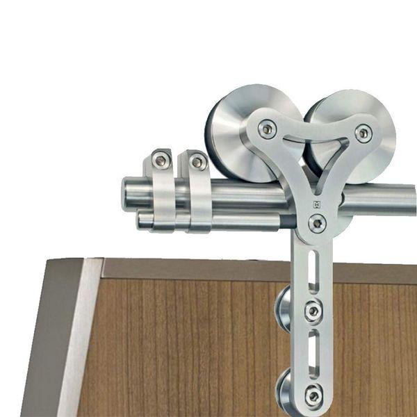 best selling Stainless Steel Dual Wheel Rolling Barn Door Hardware Kit Sliding Barn Door Hardware for Interior Wooden Doors