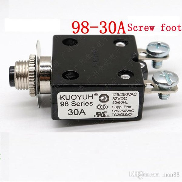 best selling Taiwan KUOYUH 98 Series-30A Overcurrent Protector Overload Switch Screw foot