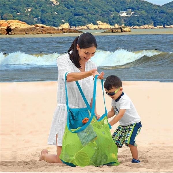 Nueva bolsa de playa de malla de malla plegable grande para niños recolecta arena juguetes 3 colores bolsa de almacenamiento para artículos al por mayor